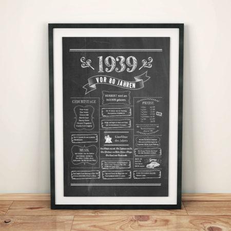 Retro Chalkboard / Jahrgangsposter 1939