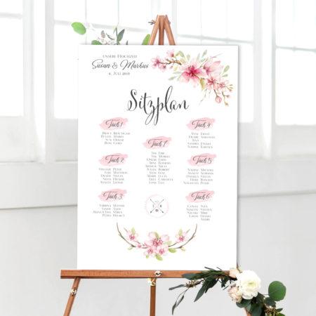 Hochzeit Sitzplan weiß