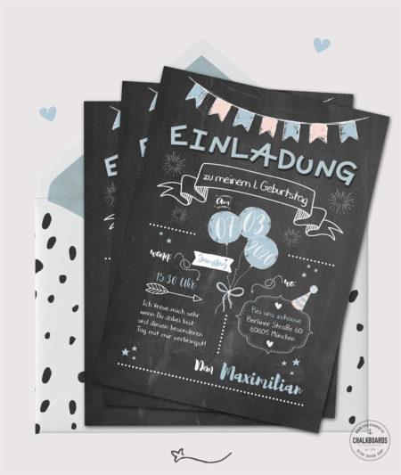 Einladung Kindergeburtstag Chalkboard Design blau
