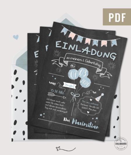 Einladung Kindergeburtstag Chalkboard Design blau PDF
