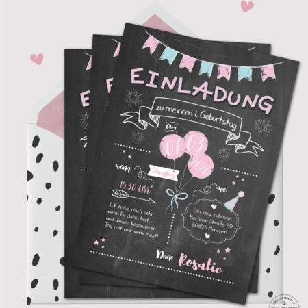 Einladung Kindergeburtstag Chalkboard Design rosa
