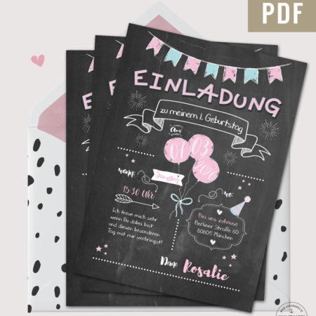 Einladung Kindergeburtstag Chalkboard Design rosa PDF