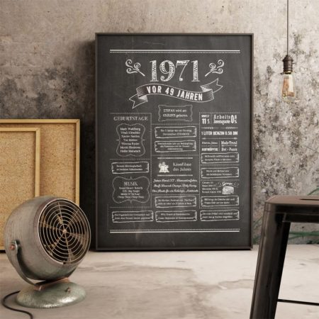 Retro Chalkboard Jahrgangsposter Chronik 1971