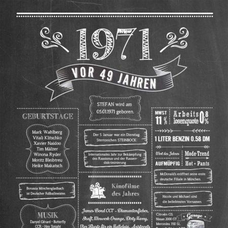 Retro Chalkboard Jahrgangsposter Chronik 1971 Details
