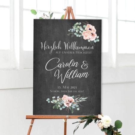 Hochzeit Willkommen Empfangsschild Chalkboard mit Eukalyptus
