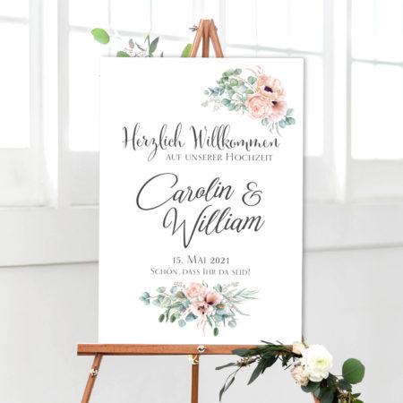 Hochzeit Willkommen Empfangsschild weiß mit Eukalyptus