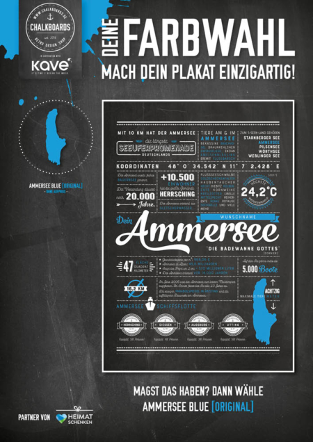 Retro Chalkboard / Ammersee Plakat 'Ammersee Blue''