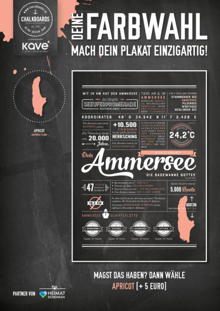 Retro Chalkboard / Ammersee Plakat 'Apricot'