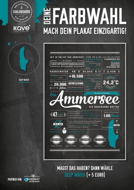 Retro Chalkboard / Ammersee Plakat 'Deep Water'