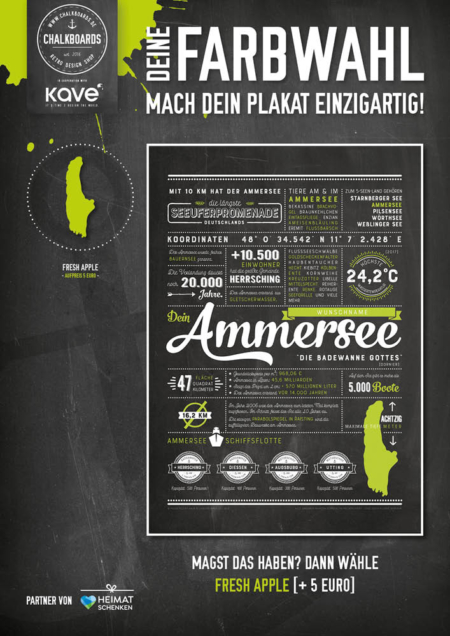 Retro Chalkboard / Ammersee Plakat 'Fresh Apple'