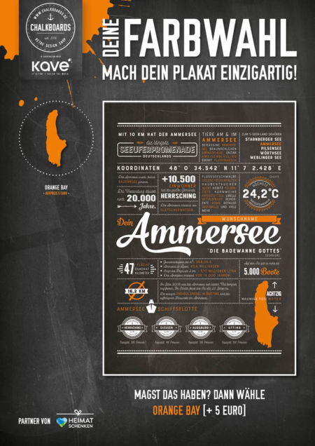 Retro Chalkboard / Ammersee Plakat 'Orange Bay'