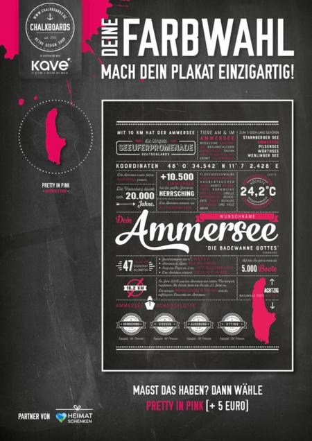 Retro Chalkboard / Ammersee Plakat 'Pretty in Pink'