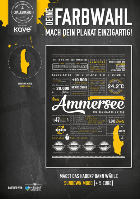 Retro Chalkboard / Ammersee Plakat 'Sundown Mood'