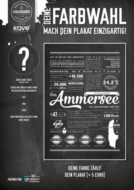 Retro Chalkboard / Ammersee Plakat 'Dein Farbwunsch'