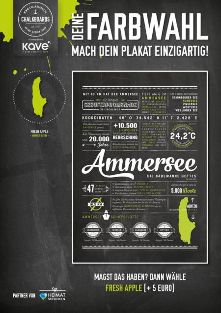 Retro Chalkboard / Ammersee Plakat 'Fresh Apple'