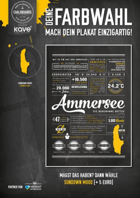 Retro Chalkboard / Ammersee Plakat 'Sundown Mood'