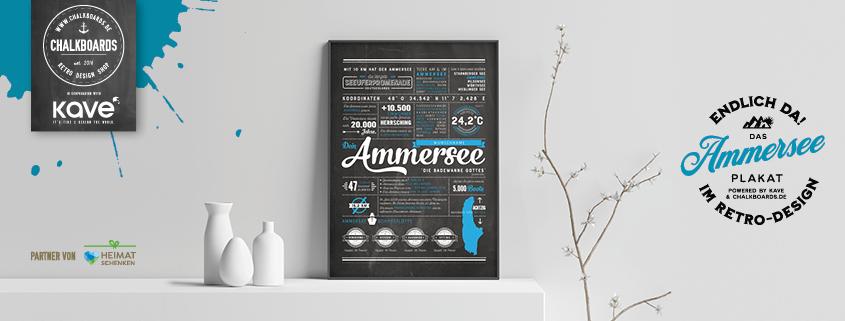Retro Chalkboard Ammersee Plakat blau