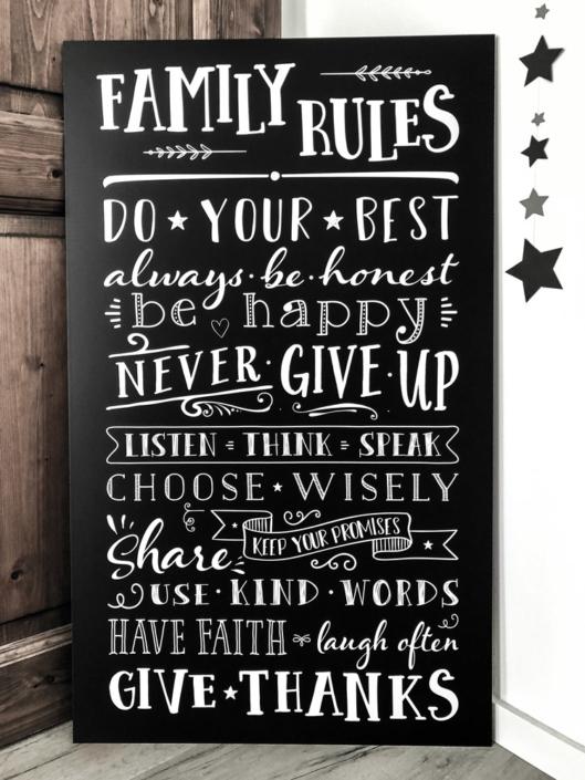 Family Rules Chalkboard Familie Regeln